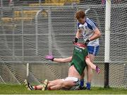 28 January 2018; Kieran Duffy of Monaghan attemps to help Diarmuid O'Connor of Mayo up during the Allianz Football League Division 1 Round 1 match between Monaghan and Mayo at St Tiernach's Park in Clones, County Monaghan. Photo by Seb Daly/Sportsfile