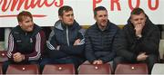 28 January 2018; Galway players left to right, Conor Whelan, Ronan Burke, Colm Callanan, and Joe Canning, watch the game from the stand during the Allianz Hurling League Division 1B Round 1 match between Galway and Antrim at Pearse Stadium in Galway. Photo by Daire Brennan/Sportsfile