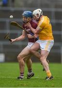 28 January 2018; Conor Cooney of Galway in action against Paddy Burke of Antrim during the Allianz Hurling League Division 1B Round 1 match between Galway and Antrim at Pearse Stadium in Galway. Photo by Daire Brennan/Sportsfile