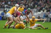 28 January 2018; Niall Burke, right, and Johnny Coen of Galway in action against Antrim players, left to right, Conor McKinley, David Kearney, Gerard Walsh, and Matthew Donnelly, during the Allianz Hurling League Division 1B Round 1 match between Galway and Antrim at Pearse Stadium in Galway. Photo by Daire Brennan/Sportsfile