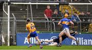 28 January 2018; David Reidy of Clare shoots to score his side's first goal past Tipperary goalkeeper Paul Maher during the Allianz Hurling League Division 1A Round 1 match between Clare and Tipperary at Cusack Park in Ennis, County Clare.  Photo by Stephen McCarthy/Sportsfile