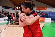 28 January 2018; Niamh Dwyer, right, and Kellie Cahalane of Fr Mathews celebrate after the Hula Hoops Senior Women's Cup Final match between Fr Mathews and Meteors at the National Basketball Arena in Tallaght, Dublin. Photo by Brendan Moran/Sportsfile