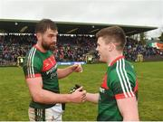 28 January 2018; Mayo captain Aidan O'Shea, left, congratulates teammate Eoin O'Donoghue, right, following their side's victory during the Allianz Football League Division 1 Round 1 match between Monaghan and Mayo at St Tiernach's Park in Clones, County Monaghan. Photo by Seb Daly/Sportsfile