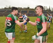 28 January 2018; Cillian O'Connor, right, and Conor Loftus of Mayo congratulate each other following their side's victory during the Allianz Football League Division 1 Round 1 match between Monaghan and Mayo at St Tiernach's Park in Clones, County Monaghan. Photo by Seb Daly/Sportsfile