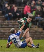 28 January 2018; Evan Regan of Mayo in action against Ryan Wylie of Monaghan during the Allianz Football League Division 1 Round 1 match between Monaghan and Mayo at St Tiernach's Park in Clones, County Monaghan. Photo by Seb Daly/Sportsfile