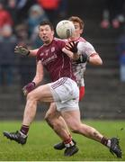 28 January 2018; Gareth Bradshaw of Galway in action against Peter Harte of Tyrone during the Allianz Football League Division 1 Round 1 match between Galway and Tyrone at St Jarlath's Park in Tuam, County Galway.  Photo by Piaras Ó Mídheach/Sportsfile