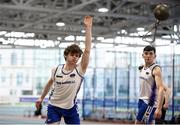 28 January 2018; Ciaran Coady of Brow Rangers AC, Co Kilkenny, competing in U23 Men 35lb Distance event during the Irish Life Health National Indoor Junior and U23 Championships at Athlone IT in Athlone, County Westmeath. Photo by Sam Barnes/Sportsfile