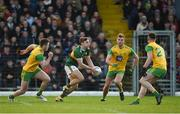 28 January 2018; James O'Donoghue of Kerry in action against Eoghan Bán Gallagher, left, Stephen McMenamin, and Ciaran Thompson of Donegal during the Allianz Football League Division 1 Round 1 match between Kerry and Donegal at Fitzgerald Stadium in Killarney, Co. Kerry. Photo by Diarmuid Greene/Sportsfile