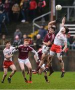 28 January 2018; Pádraig Hampsey of Tyrone in action against Shane Walsh of Galway during the Allianz Football League Division 1 Round 1 match between Galway and Tyrone at St Jarlath's Park in Tuam, County Galway.  Photo by Piaras Ó Mídheach/Sportsfile