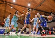 28 January 2018; Adily Martucci of Ambassador UCC Glanmire in action against Alex Masaquel, left, and Bronagh Cassidy-Power of DCU Mercy the Hula Hoops Women's National Cup Final match between DCU Mercy and Ambassador UCC Glanmire at the National Basketball Arena in Tallaght, Dublin. Photo by Brendan Moran/Sportsfile