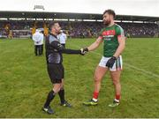 28 January 2018; Referee David Gough and Mayo captain Aidan O'Shea prior to the Allianz Football League Division 1 Round 1 match between Monaghan and Mayo at St Tiernach's Park in Clones, County Monaghan. Photo by Seb Daly/Sportsfile
