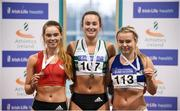 28 January 2018; Junior Women 60m medallists, from left, Lauren Roy of City of Lisburn AC, Co Down, bronze, Ciara Neville of Emerald AC, Co Limerick, gold, and Molly Scott of St Laurence O'Toole, Co Carlow, silver, during the Irish Life Health National Indoor Junior and U23 Championships at Athlone IT in Athlone, County Westmeath. Photo by Sam Barnes/Sportsfile