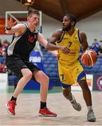 27 January 2018; Kevin Grey of Keane's Supervalu Killorglin in action against Ronan O'Sullivan of Ballincollig during the Hula Hoops President's Cup Final match between Ballincollig and Keane's SuperValu Killorglin at the National Basketball Arena in Tallaght, Dublin. Photo by Brendan Moran/Sportsfile