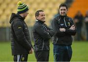 28 January 2018; Donegal manager Damian Devaney, right, along with mentors Johnny McGinley, left, and Maxi Curran, centre, before the Lidl Ladies Football National League Division 1 Round 1 match between Donegal and Dublin at Letterkenny in Donegal. Photo by Oliver McVeigh/Sportsfile