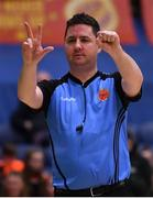28 January 2018; Referee PJ Coughlan signals a foul during the Hula Hoops Under 20 Men's National Cup Final match between Moycullen and KUBS at the National Basketball Arena in Tallaght, Dublin. Photo by Brendan Moran/Sportsfile