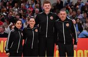28 January 2018; Match officials, from left, Ines Freire, Lynda Cassidy, Mark Gilleran and Stephen Brierley prior to the Hula Hoops Women's National Cup Final match between DCU Mercy and Ambassador UCC Glanmire at the National Basketball Arena in Tallaght, Dublin. Photo by Brendan Moran/Sportsfile