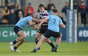 29 January 2018; Jack Walsh of Terenure College is tackled by Lee Barron, left, and Chris Hennessey of St Michael's College during the Bank of Ireland Leinster Schools Senior Cup Round 1 match between Terenure College and St Michael's College at Donnybrook Stadium, in Dublin. Photo by Piaras Ó Mídheach/Sportsfile
