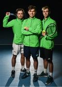 29 January 2018; Irish Davis Cup team members, from left, Peter Bothwell, Simon Carr and Sam Bothwell, pose for a portrait following a team practice session ahead of their Davis Cup Group 2 tie against Denmark on Saturday 3rd of February. David Lloyd Riverview, in Clonskeagh, Dublin. Photo by Seb Daly/Sportsfile