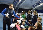 29 January 2018; Irish Davis Cup captain Conor Niland hands out free caps to players from the David Lloyd Riverview tennis club following a team practice session ahead of their Davis Cup Group 2 tie against Denmark on Saturday 3rd of February. David Lloyd Riverview, in Clonskeagh, Dublin. Photo by Seb Daly/Sportsfile