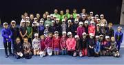 29 January 2018; Irish Davis Cup team members and young players from the David Lloyd Riverview tennis club following a team practice session ahead of their Davis Cup Group 2 tie against Denmark on Saturday 3rd of February. David Lloyd Riverview, in Clonskeagh, Dublin. Photo by Seb Daly/Sportsfile
