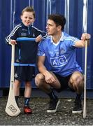 30 January 2018; Dublin hurler Danny Sutcliffe with young Dub, Dara Ryan, age 7, in Parnell Park to kick off the 2018 Dublin GAA Season with team sponsor's AIG Insurance. To celebrate the new year, AIG revealed details of their latest car insurance deal, offering 20% off car insurance to new customers. For more info call 1890 50 27 27 or log on to www.aig.ie/dubs. Parnell Park, Dublin. Photo by David Fitzgerald/Sportsfile