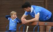 30 January 2018; Dublin hurler Danny Sutcliffe with young Dub, Clodagh Quinn, age 4, in Parnell Park to kick off the 2018 Dublin GAA Season with team sponsor's AIG Insurance. To celebrate the new year, AIG revealed details of their latest car insurance deal, offering 20% off car insurance to new customers. For more info call 1890 50 27 27 or log on to www.aig.ie/dubs. Parnell Park, Dublin. Photo by David Fitzgerald/Sportsfile