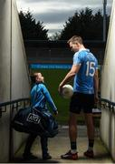 30 January 2018; Dublin footballer Dean Rock with young Dub Christian Kelly, age 7, in Parnell Park to kick off the 2018 Dublin GAA Season with team sponsor's AIG Insurance. To celebrate the new year, AIG revealed details of their latest car insurance deal, offering 20% off car insurance to new customers. For more info call 1890 50 27 27 or log on to www.aig.ie/dubs. Parnell Park, Dublin. Photo by Brendan Moran/Sportsfile