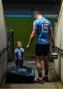 30 January 2018; Dublin footballer Dean Rock with young Dub Clodagh Quinn, age 4, in Parnell Park to kick off the 2018 Dublin GAA Season with team sponsor's AIG Insurance. To celebrate the new year, AIG revealed details of their latest car insurance deal, offering 20% off car insurance to new customers. For more info call 1890 50 27 27 or log on to www.aig.ie/dubs. Parnell Park, Dublin. Photo by Brendan Moran/Sportsfile