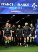 2 February 2018; The Ireland team, including from left, Andrew Porter, Rory Scannell, Tadhg Furlong, Bundee Aki, Rob Kearney and Josh van der Flier walk out for their captain's run at the Stade de France in Paris, France. Photo by Brendan Moran/Sportsfile