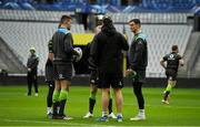 2 February 2018; Jonathan Sexton, right, with defence coach Andy Farrell and Jacob Stockdale, left, during the Ireland rugby captain's run at the Stade de France in Paris, France. Photo by Brendan Moran/Sportsfile