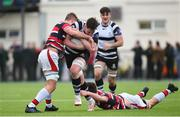 2 February 2018; Noel Moylett of Cistercian College Roscrea is tackled by Jake Brownwell and Daniel Dooley of Wesley College during the Bank of Ireland Leinster Schools Senior Cup Round 1 match between Wesley College and Cistercian College Roscrea at Clontarf RFC in Castle Avenue, Dublin. Photo by Matt Browne/Sportsfile