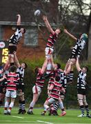 2 February 2018; Jake Brownwell of Wesley College takes the ball in the lineout against Neal Moylett and Lucas Culliton of Cistercian College Roscrea during the Bank of Ireland Leinster Schools Senior Cup Round 1 match between Wesley College and Cistercian College Roscrea at Clontarf RFC in Castle Avenue, Dublin. Photo by Matt Browne/Sportsfile