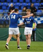 2 February 2018; Hugo Conway, left, and Eoin Franklin of St Mary's College celebrate after the Bank of Ireland Leinster Schools Senior Cup Round 1 match between St Mary's College and St Andrew's College at Donnybrook Stadium in Dublin. Photo by Daire Brennan/Sportsfile