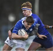 2 February 2018; Hugo Conway of St Mary's College is tackled by Luke Hoade of St Andrew's College during the Bank of Ireland Leinster Schools Senior Cup Round 1 match between St Mary's College and St Andrew's College at Donnybrook Stadium in Dublin. Photo by Daire Brennan/Sportsfile