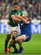 3 February 2018; Bundee Aki of Ireland is tackled by Kevin Gourdon of France during the NatWest Six Nations Rugby Championship match between France and Ireland at the Stade de France in Paris, France. Photo by Brendan Moran/Sportsfile
