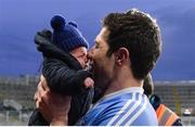 3 February 2018; Seán Cavanagh of Moy Tír na nÓg celebrates with his son Seán after the AIB GAA Football All-Ireland Intermediate Club Championship Final match between Michael Glaveys and Moy Tír na nÓg at Croke Park in Dublin. Photo by Piaras Ó Mídheach/Sportsfile