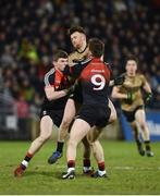 3 February 2018; Barry John Keane of Kerry in action against Eoin O'Donoghue, left, and Shane Nally of Mayo during the Allianz Football League Division 1 Round 2 match between Mayo and Kerry at Elverys MacHale Park in Castlebar, Co Mayo. Photo by Seb Daly/Sportsfile