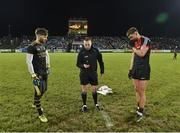 3 February 2018; Referee Derek O'Mahoney with Kerry captain Shane Murphy and Mayo captain Aidan O'Shea during the coin toss prior to the Allianz Football League Division 1 Round 2 match between Mayo and Kerry at Elverys MacHale Park in Castlebar, Co Mayo. Photo by Seb Daly/Sportsfile