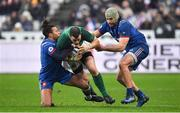 3 February 2018; Robbie Henshaw of Ireland is tackled by Teddy Thomas, left, and Kevin Gourdon of France during the NatWest Six Nations Rugby Championship match between France and Ireland at the Stade de France in Paris, France. Photo by Brendan Moran/Sportsfile