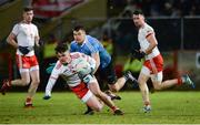 3 February 2018; Michael McKernan of Tyrone in action against Kevin McManamon of Dublin during the Allianz Football League Division 1 Round 2 match between Tyrone and Dublin at Healy Park in Omagh, County Tyrone. Photo by Oliver McVeigh/Sportsfile