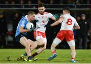 3 February 2018; Paul Mannion of Dublin in action against Padraig Hampsey, left, and Matthew Donnelly of Tyrone during the Allianz Football League Division 1 Round 2 match between Tyrone and Dublin at Healy Park in Omagh, County Tyrone. Photo by Oliver McVeigh/Sportsfile
