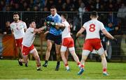 3 February 2018; James McCarthy of Dublin in action against Ciaran McLaughlin, left, and Connor McAliskey of Tyrone during the Allianz Football League Division 1 Round 2 match between Tyrone and Dublin at Healy Park in Omagh, County Tyrone. Photo by Oliver McVeigh/Sportsfile