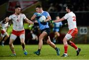 3 February 2018; Ciaran Kilkenny of Dublin in action against Matthew Donnelly, left, and Aidan McCrory of Tyrone during the Allianz Football League Division 1 Round 2 match between Tyrone and Dublin at Healy Park in Omagh, County Tyrone. Photo by Oliver McVeigh/Sportsfile
