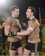 3 February 2018; Jack Barry, left, and Andrew Barry of Kerry celebrate following their side's victory during the Allianz Football League Division 1 Round 2 match between Mayo and Kerry at Elverys MacHale Park in Castlebar, Co Mayo. Photo by Seb Daly/Sportsfile
