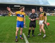 4 February 2018; Referee James McGrath with captains Patrick O'Connor of Clare and Cillian Buckley of Kilkenny during the coin toss prior to the Allianz Hurling League Division 1A Round 2 match between Kilkenny and Clare at Nowlan Park, in Kilkenny. Photo by Seb Daly/Sportsfile