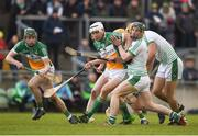 4 February 2018; Conor Mahon of Offaly in action against Seán Finn of Limerick during the Allianz Hurling League Division 1B Round 2 match bewteen Offaly and Limerick at Bord Na Móna O'Connor Park, in Tullamore, Offaly. Photo by Daire Brennan/Sportsfile