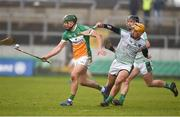 4 February 2018; David King of Offaly in action against Tom Morrissey of Limerick during the Allianz Hurling League Division 1B Round 2 match bewteen Offaly and Limerick at Bord Na Móna O'Connor Park, in Tullamore, Offaly. Photo by Daire Brennan/Sportsfile