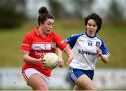 4 February 2018; Shauna Kelly of Cork in action against Cora Courtney of Monaghan during the Lidl Ladies Football National League Division 1 Round 2 match between Cork and Monaghan at Mallow GAA Complex in Mallow, Co. Cork. Photo by Diarmuid Greene/Sportsfile