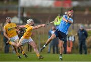 4 February 2018; Donal McKinley of Antrim in action against Danny Sutcliffe of Dublin during the Allianz Hurling League Division 1B Round 2 match between Antrim and Dublin at Corrigan Park, in Belfast, Antrim. Photo by Mark Marlow/Sportsfile