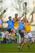 4 February 2018; Fergal Whitely and Danny Sutcliffe of Dublin in action against Gerard Walsh and Joe Maskey of Antrim during the to the Allianz Hurling League Division 1B Round 2 match between Antrim and Dublin at Corrigan Park, in Belfast, Antrim. Photo by Mark Marlow/Sportsfile
